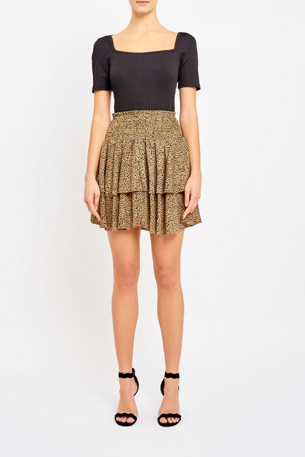 LAYERED FRILL SHIRRED SKIRT