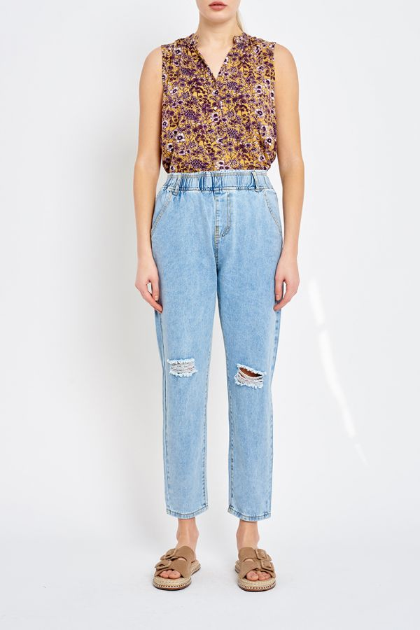 BAND WAIST RELAXED FIT JEANS