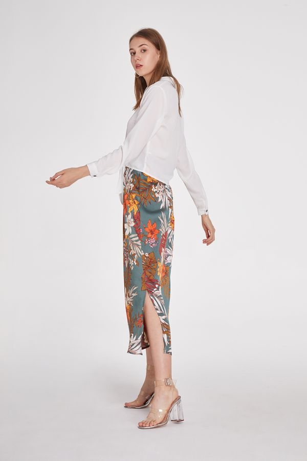 LYDIA SLIM LONG A-LINE SKIRT