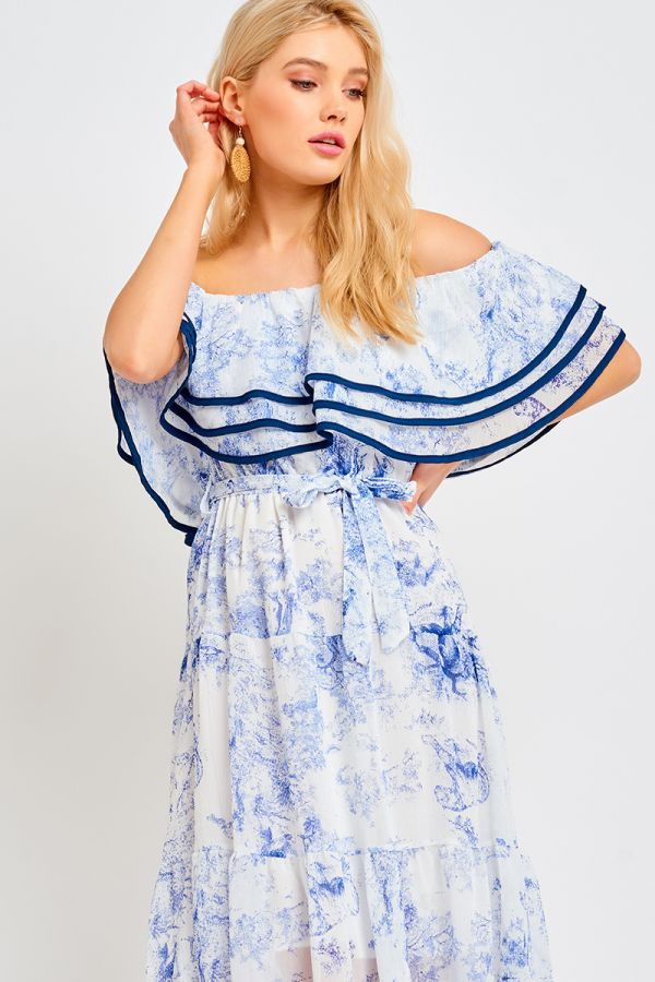 TIERED OFF SHOULDER LACE DRESS (321874)