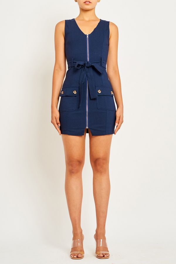 KATRINA ZIP UP MINI DRESS (322684)