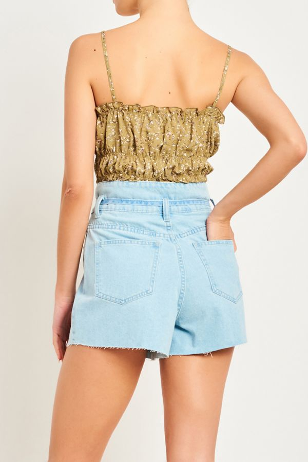 LORENA TIE FRONT DENIM SHORTS
