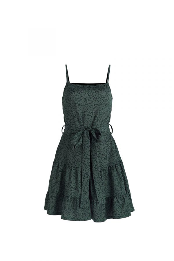 JULIA SPAGHETTI STRAP TIE WAIST DRESS