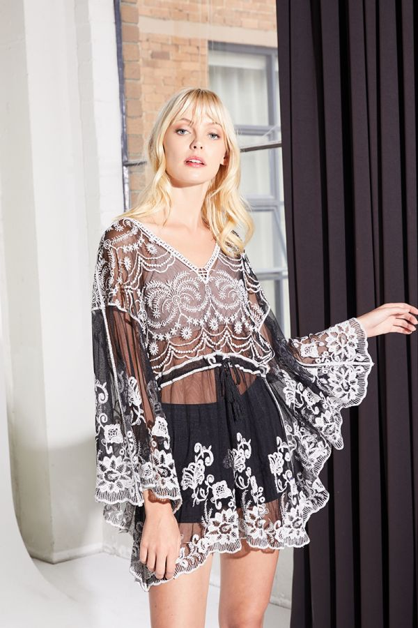 MERLA SEE THROUGH BRODERIE BLOUSE