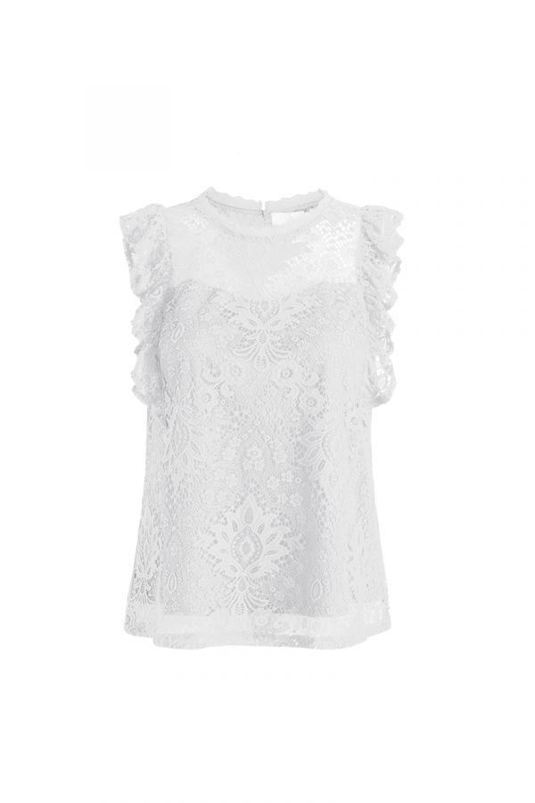 DELICATE LACE RUFFLE SLEEVE BLOUSE