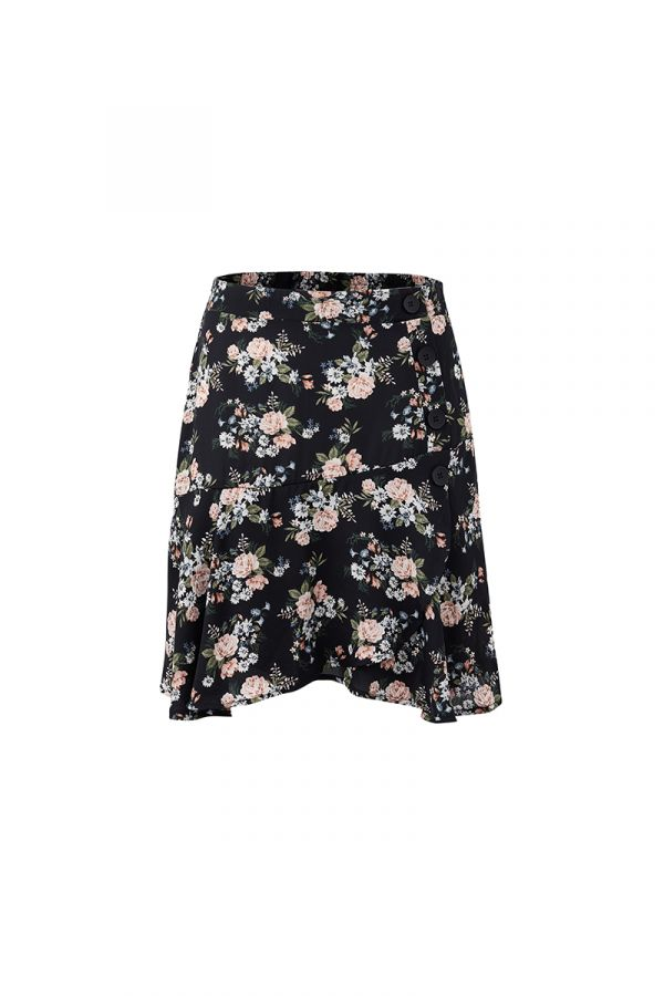 LILY BUTTON DETAIL MINI SKIRT (323170)