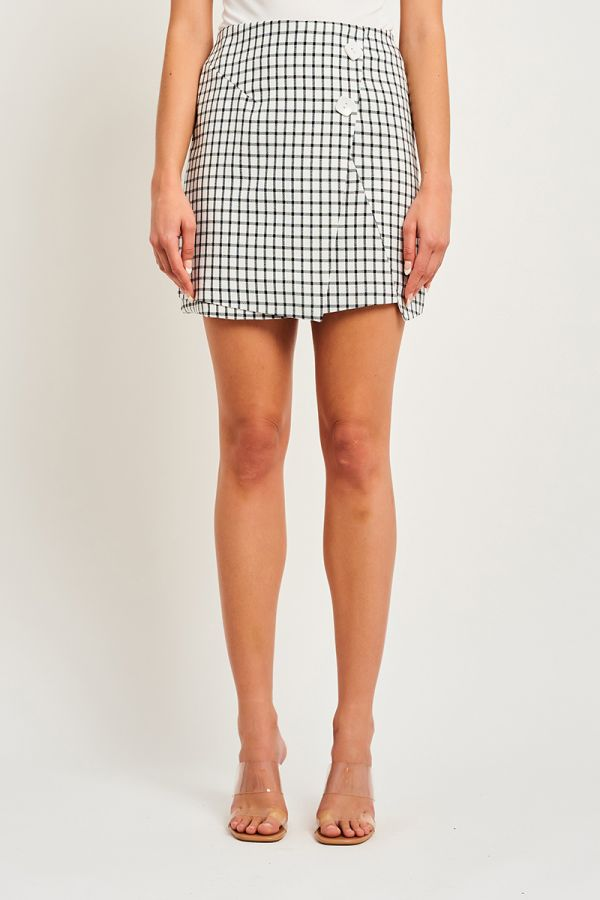 CHECKERED BUTTON SKIRT
