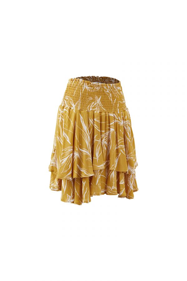 ZOIE FLOUNCE SMOCKED MINI SKIRT