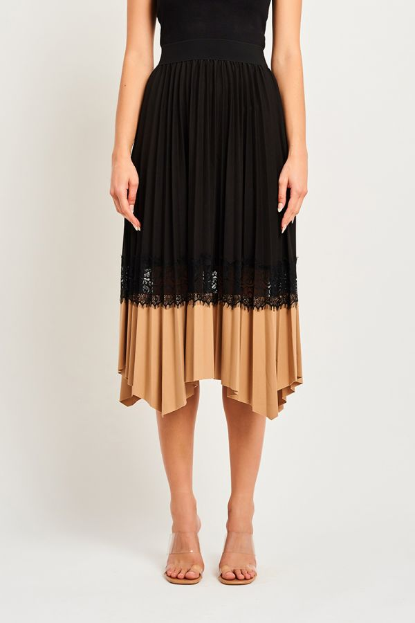 PLEATED CONTRAST LACE HEM SKIRT