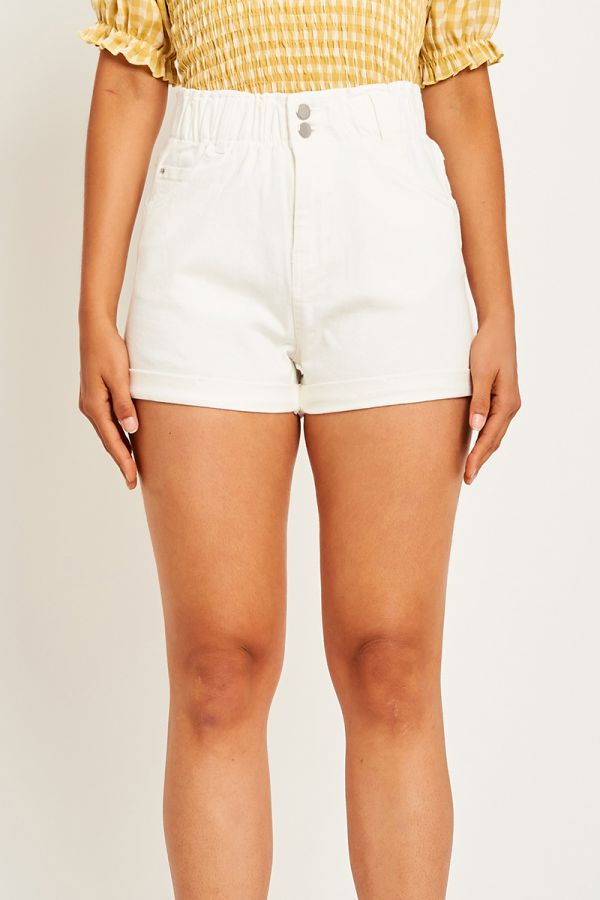 CHERRY HIGH WAISTED DENIM SHORTS