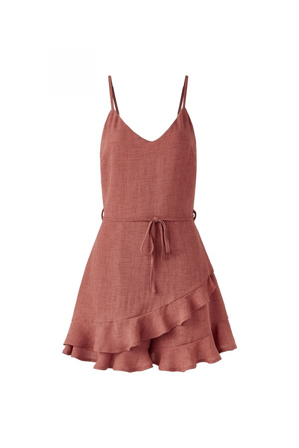 HARRIET RUFFLE HEM SPAGHETTI STRAP PLAYSUIT