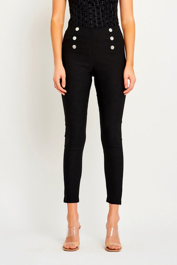 BUTTON HIGH WAISTED PANTS (323870)