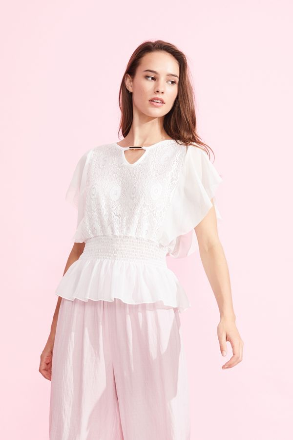 MARIANA RUFFLE LACE TOP (323883)
