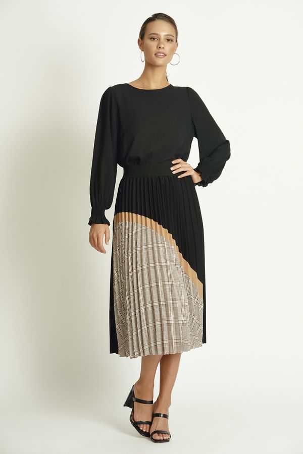 pleated patchwork skirt  (324057)