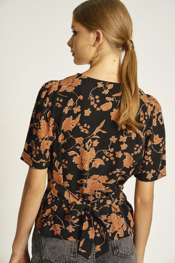 front tie printed top  (324144)