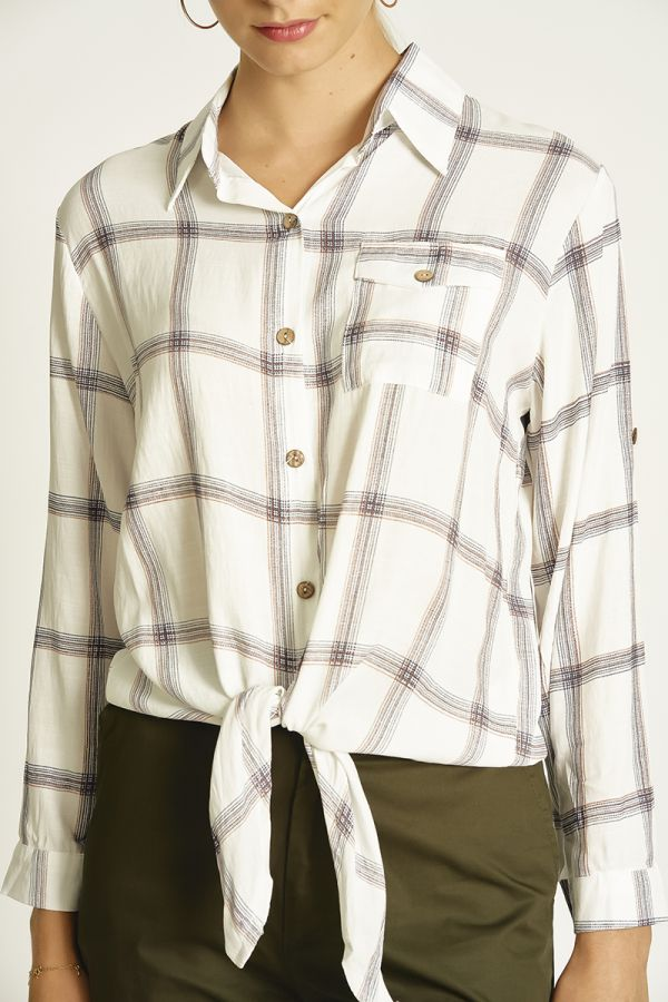 check tie up shirts  (324186)
