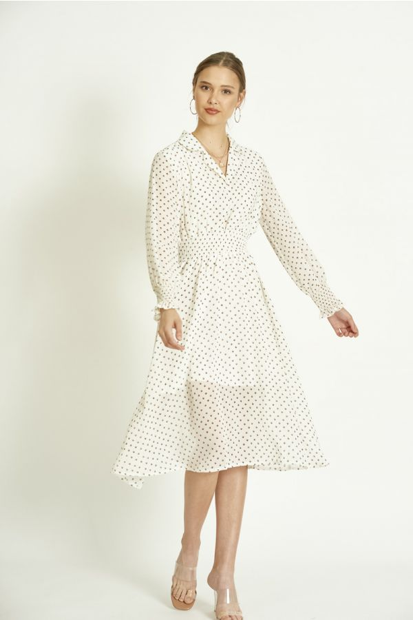 cheese cloth fabric buttonedpattern dress (324199)