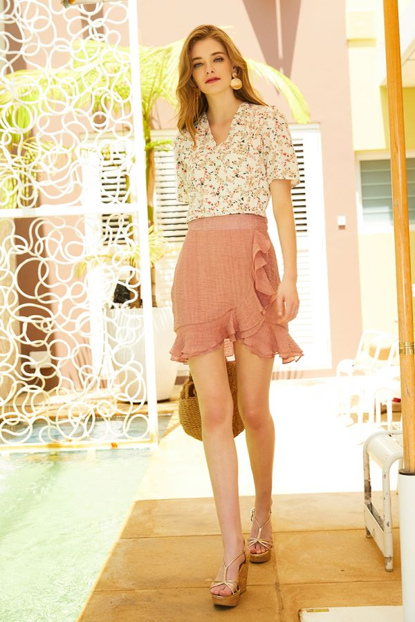 CHERYL FRILL MINI SKIRT (324246)