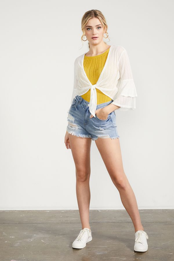 tie up cardigan with frill sleeve (324388)