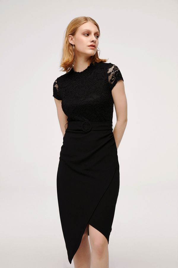 JACQUIE LACE TOP BELTED DRESS (324452)