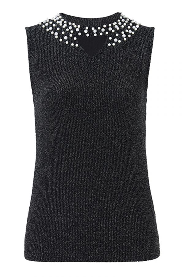 PEARL EMBELLISHED NECK SLEEVELESS TOP (324453)