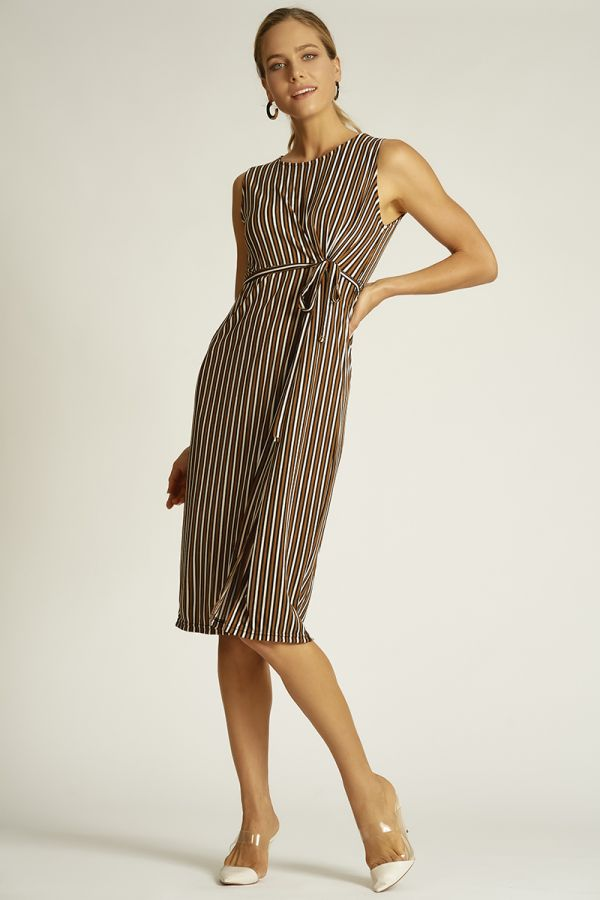 stripe waist tie up dress  (324460)