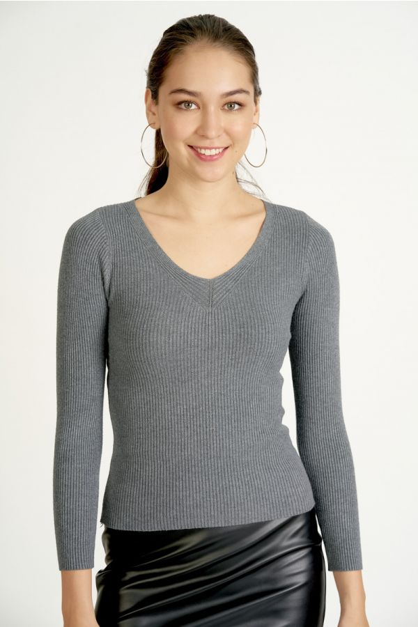 v-neck long sleeve knit top  (324539)