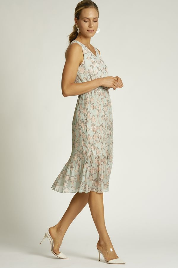 soft floral pleated dress  (324559)