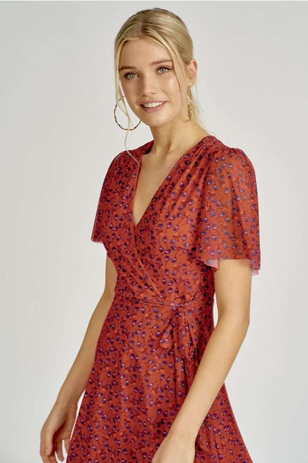 Wing sleeve floral mesh dress  (324583)