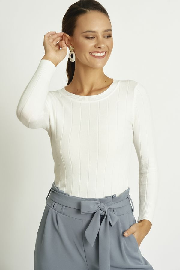 Round neck basic knit top  (324635)