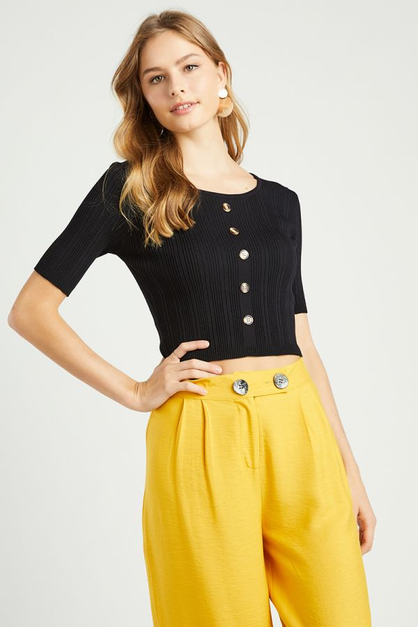 button down knit top  (324639)