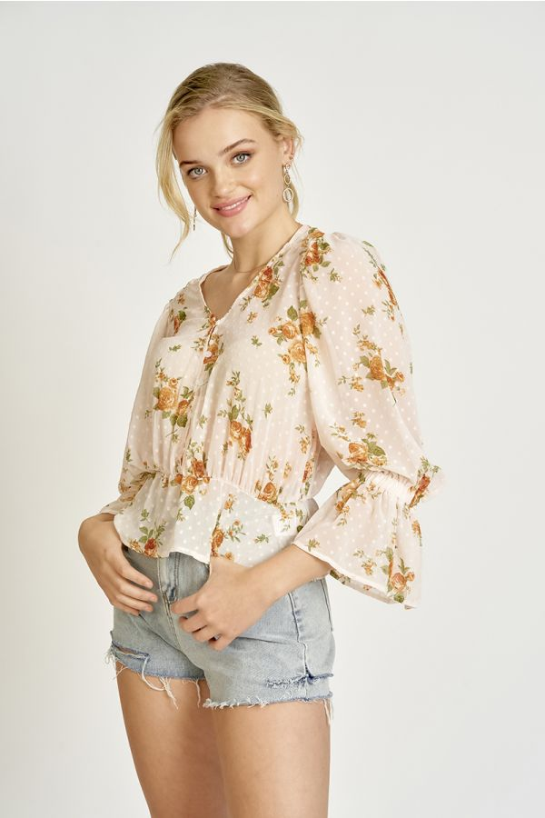 Floral dobby chiffon volume sleeve blouse (324648)