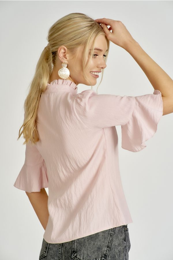 Frill neck ruffle sleeve shirt  (324658)
