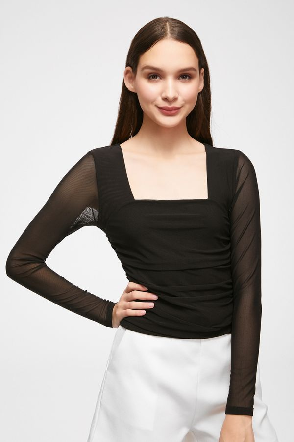 mesh squre neck crop top  (324665)
