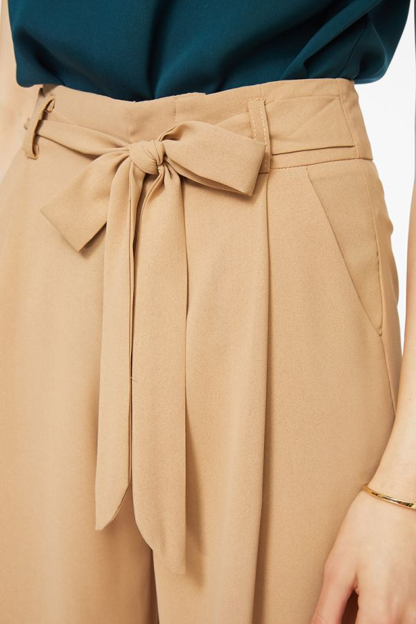 tie up detailed wide leg pants  (324731)