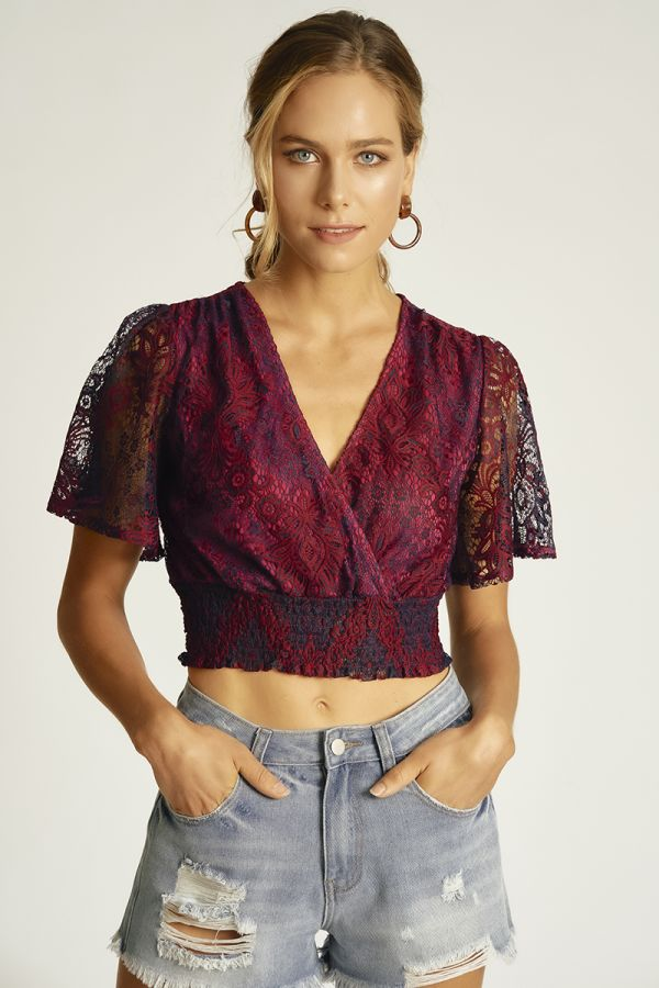 coloured lace top  (324765)