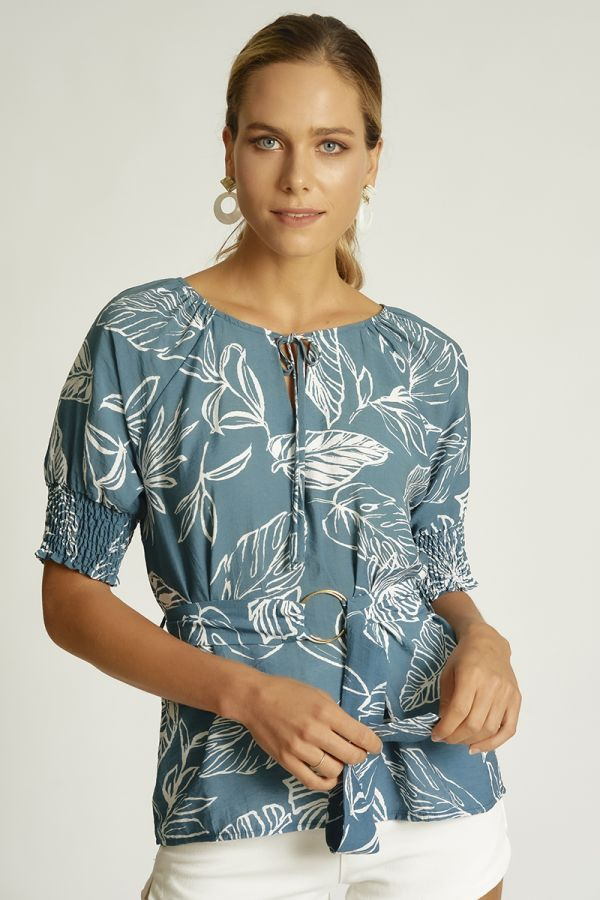 quarter sleeve printed top  (324825)