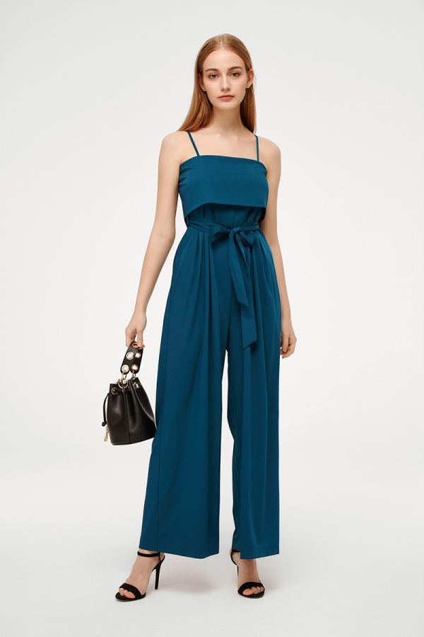 GARRET TIE WAIST SLEEVELESS JUMPSUIT (324827)