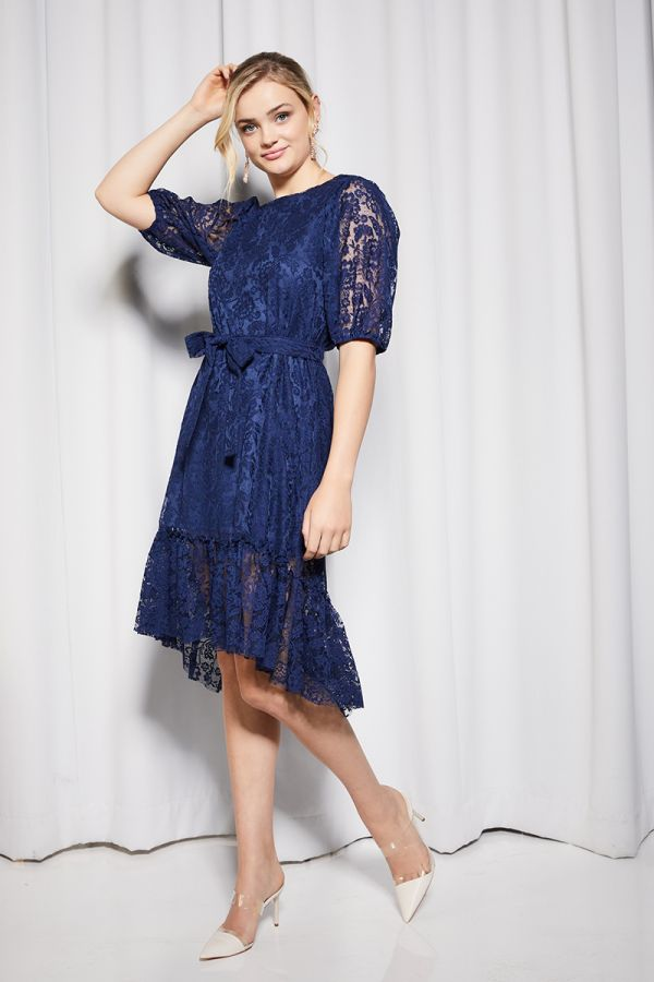 puff sleeve lace dress  (324831)