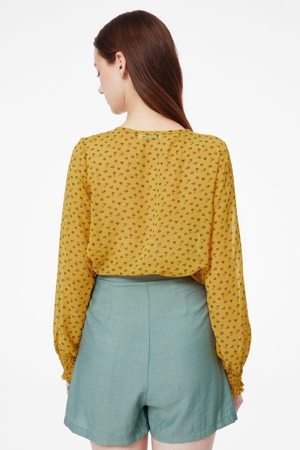 smock sleeve button down top  (324846)