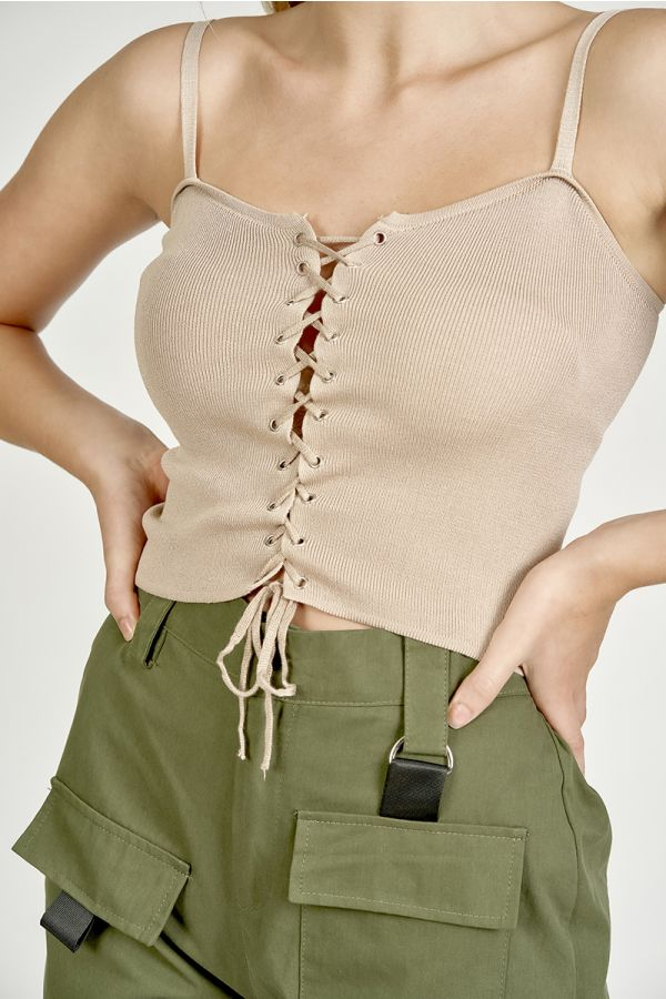 lace up detail knit top  (324886)