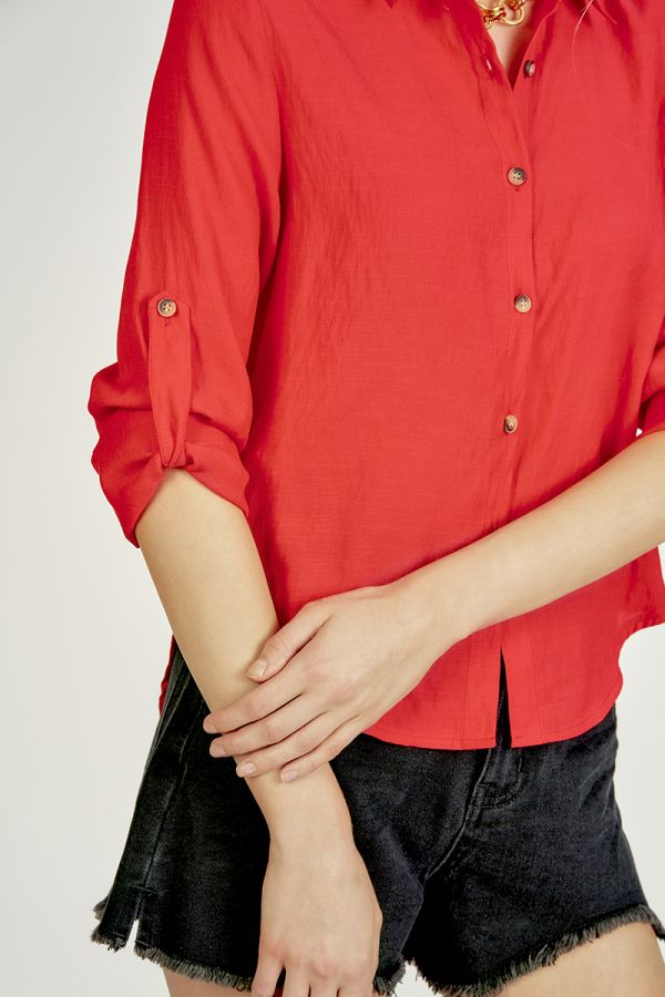 basic roll up sleeve shirts  (324893)