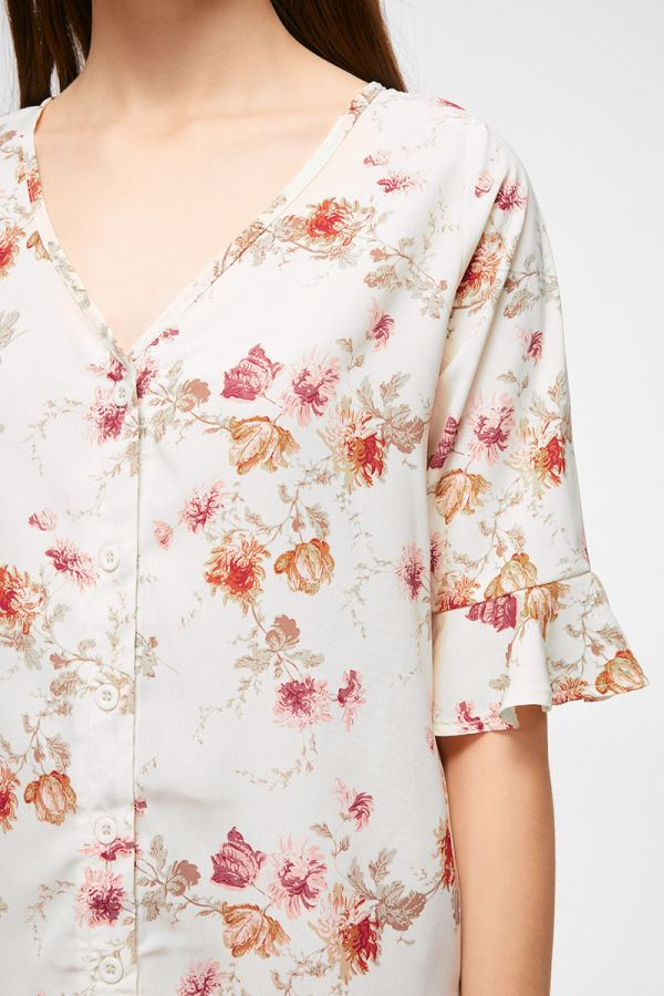frill sleeve button down top  (324899)