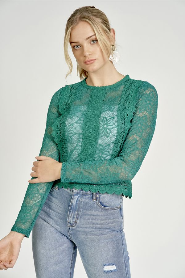 high neck lace top  (324907)