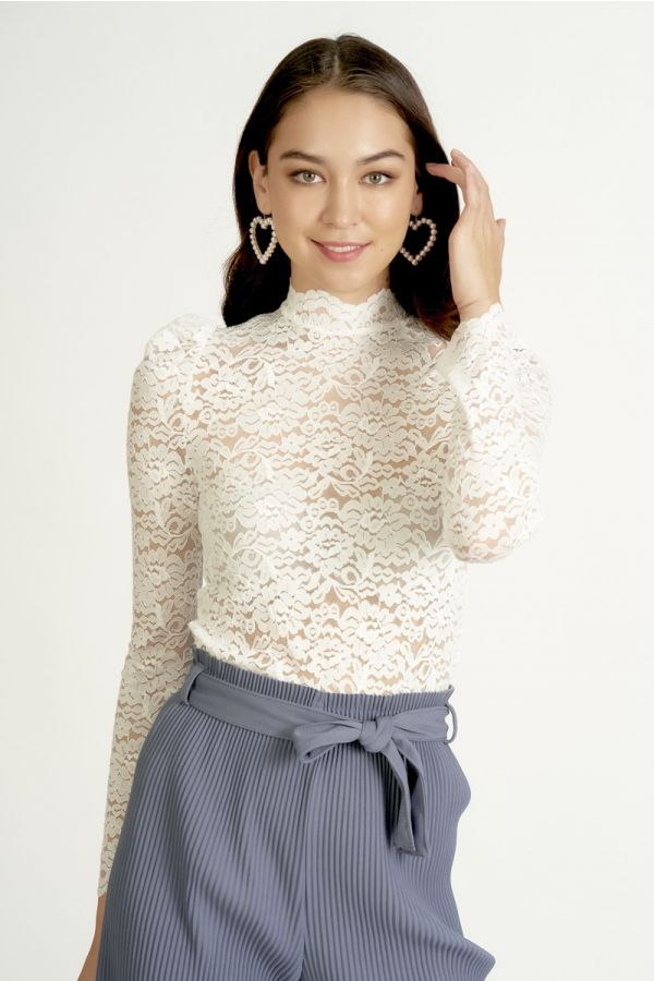 high neck full lace top  (324947)