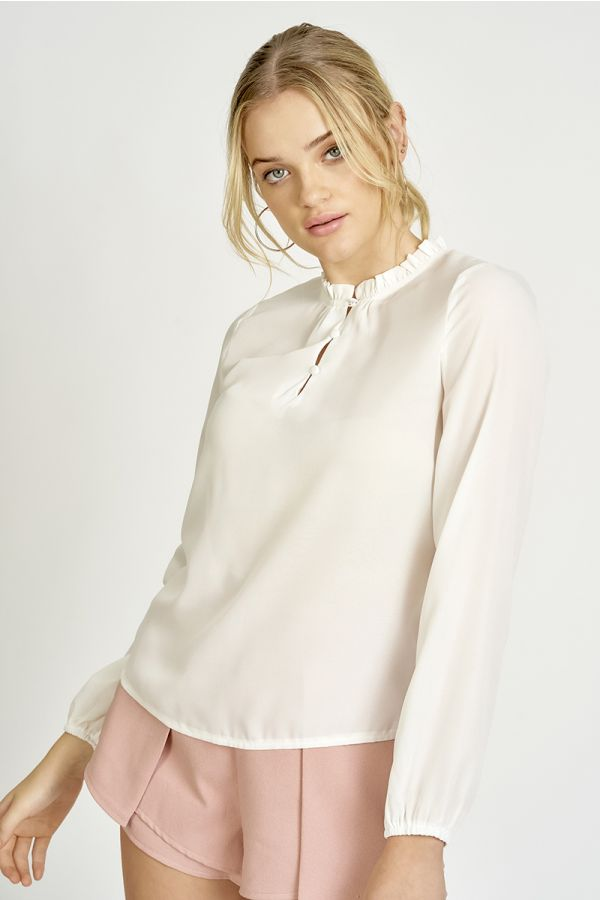 Pie crust neck long sleeve top  (324986)