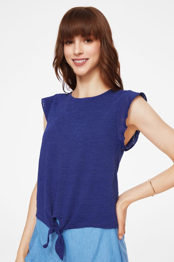 front tie up ruffle short slv top (325021)