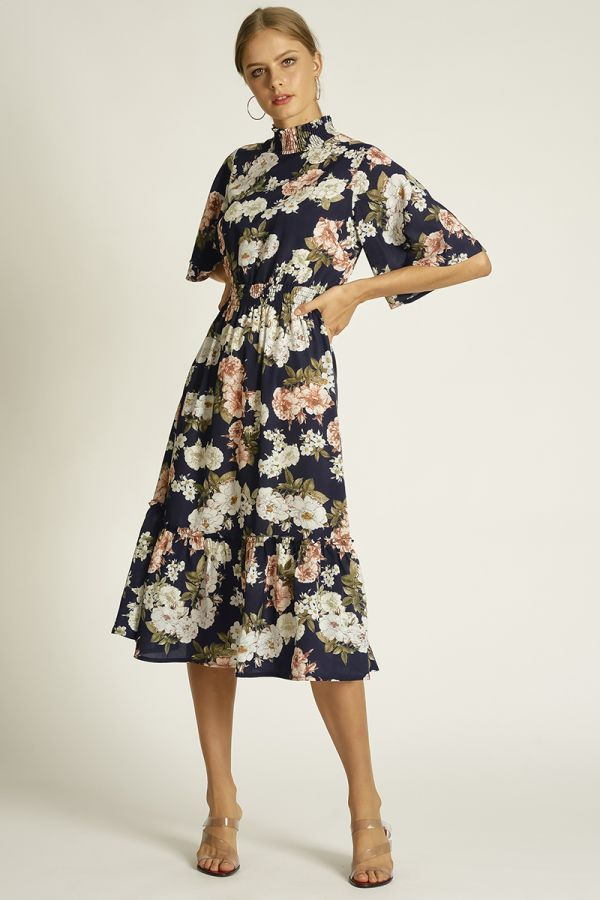 wing sleeve high neck pattern dress (325024)