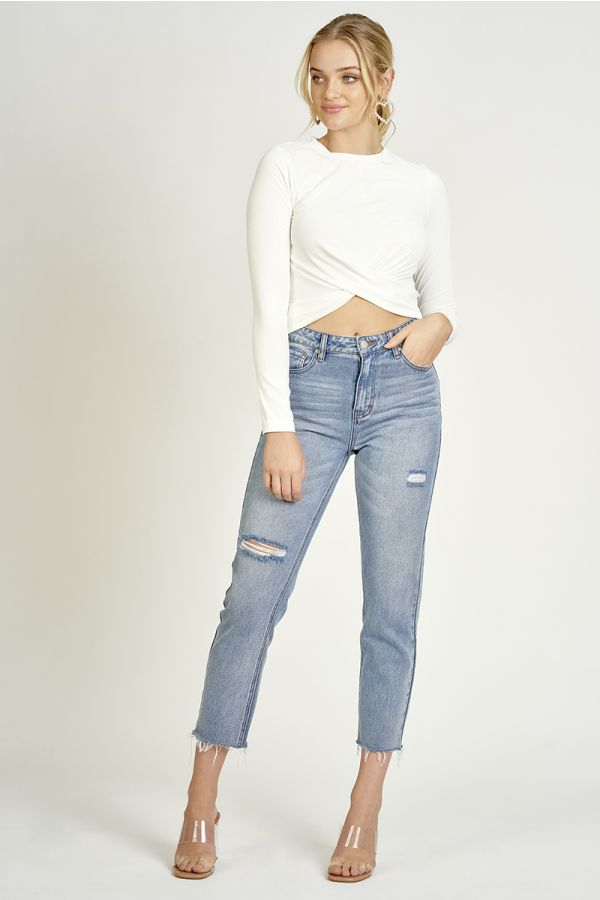 twisted front rib jersey top  (325038)