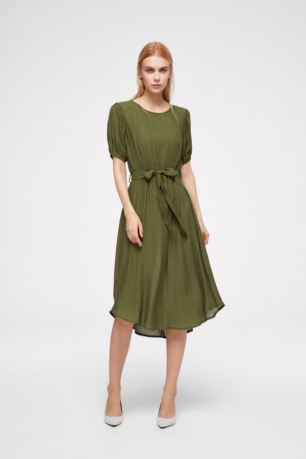 LUCINDA PUFF SLEEVE MIDI DRESS (325074)